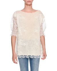 Ermanno Scervino - Half-sleeve Light-cashmere Sweater With Lace - Lyst