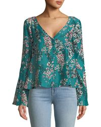 Cupcakes And Cashmere | Nadette V-neck Floral-print Top | Lyst