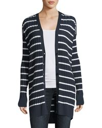 T By Alexander Wang - Striped Ribbed Long Cardigan Sweater - Lyst
