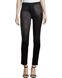 Eileen Fisher | Ponte Leather-blocked Leggings | Lyst