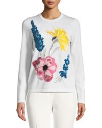 ESCADA - Embroidered-floral Virgin Wool Pullover Sweater - Lyst