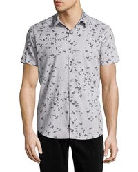 Theory - Zack S. Leaflet Linen-cotton Short-sleeve Shirt - Lyst