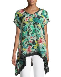 Johnny Was - Plaid Dress Tropical-print Top - Lyst