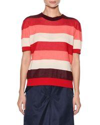 Marni - Crewneck Short-sleeve Striped Cotton Knit Top - Lyst