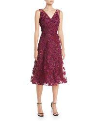 Teri Jon - Tulle Tea-length Dress W/ Floral Appliques - Lyst
