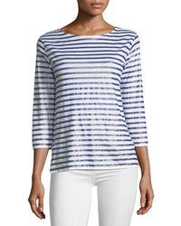 Neiman Marcus | Linen Metallic Striped Top | Lyst