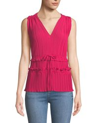 3.1 Phillip Lim - Pleated V-neck Tank Top With Gathered Details - Lyst