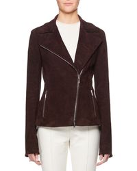 The Row - Paylee Asymmetric Zip-front Suede Leather Moto Jacket - Lyst