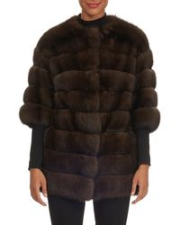 Gianfranco Ferré - Crop-sleeve Horizontal-quilted Russian Sable Jacket - Lyst