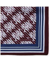 Ermenegildo Zegna - Grafiato Bordered Silk Pocket Square - Lyst