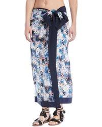 Shan - Aqua Blue Silk Pareo Coverup - Lyst