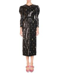 Erdem Emmy Ditsy Stone Embellished Puff Sleeve Midi Dress Lyst