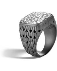 John Hardy - Men's Classic Chain Rhodium-plated Signet Ring With Diamonds - Lyst