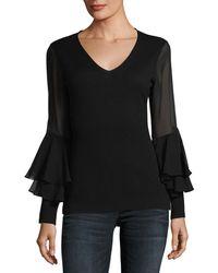 Neiman Marcus - Chiffon Ruffle-sleeve V-neck Cashmere Sweater - Lyst