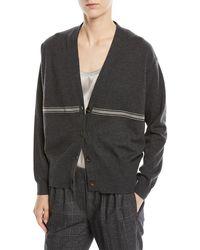 Brunello Cucinelli - Cashmere Cardigan Sweater W/ Monili Stripe - Lyst