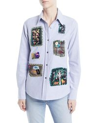 968550ee25523 Libertine - Long-sleeve Button-front Patchwork Classic Cotton Shirt - Lyst