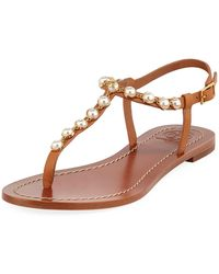 49aa01b15ec24 Lyst - Tory Burch Melody Beaded Leather Ankle Tie Sandals in Metallic