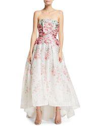 Monique Lhuillier - Strapless Rose-print Cloque Gown - Lyst