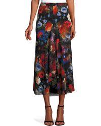 Fuzzi - Long Floral-print Tulle Godet Skirt - Lyst