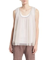 Brunello Cucinelli - Scoop-neck Tulle Pleated Tank With Cotton Tank Attached - Lyst