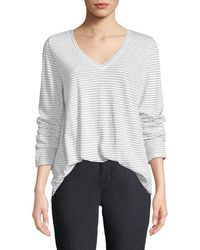 Eileen Fisher - V-neck Long-sleeve Pinstriped Tee - Lyst