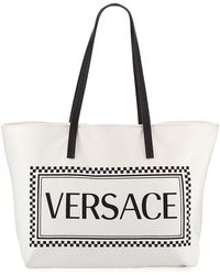 Lyst - Versace Logo Handle Tote Bag in White 2b0a97d3af468