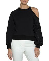 Eleventy - Floral-embroidered Jersey Cold-shoulder Pullover Top - Lyst