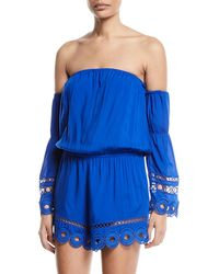 Ramy Brook | Markos Off-the-shoulder Romper With Embroidery & Fringe | Lyst