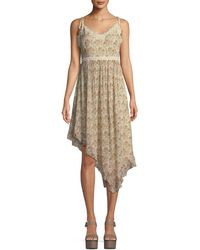 PAIGE - Aubrey Botanical Floral-print Georgette Midi Dress W/ Lace - Lyst