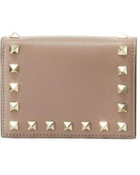 Valentino - Rockstud Leather Flap French Wallet - Lyst