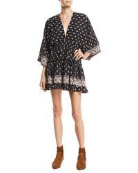 MISA - Neily Printed V-neck Flounce Mini Dress - Lyst