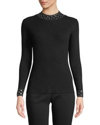 MICHAEL Michael Kors - Embellished-collar Ribbed Sweater - Lyst