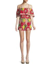 Alice + Olivia - Anelle Off-the-shoulder Lace Ruffle Romper - Lyst