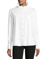 Saloni - Mika Stand-collar Button-front Poplin Shirt - Lyst