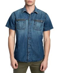 True Religion - Men's Short-sleeve Denim Novelty Shirt - Lyst