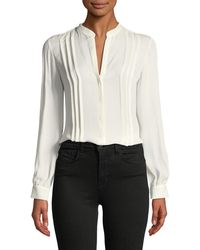 L'Agence - Amalea Pintuck Silk Button-front Blouse - Lyst
