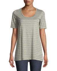 Lafayette 148 New York - Kristen Metallic-stripe Heathered T-shirt - Lyst