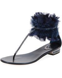 e09935a515ae70 Lyst - Rene Caovilla Flat Crystal Gladiator Thong Sandal in Black