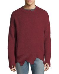 Ovadia And Sons - Oversize Distressed Crewneck Sweater - Lyst