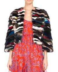 Pascal Millet - 3/4-sleeve Multicolor Mink Fur Jacket Navy - Lyst