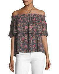 Rebecca Minkoff   Ghiradelle Off-the-shoulder Floral-print Top   Lyst