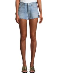 Levi's Premium - 501 Embroidered Raw-edge Denim Shorts - Lyst