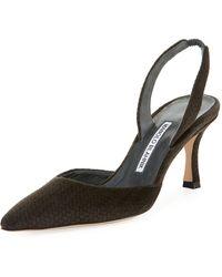 Manolo Blahnik - Carolyne Etched Fabric Mid-heel Halter Pump - Lyst