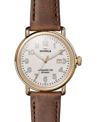 Shinola - Men's Runwell Leather Watch - Lyst