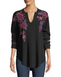 Johnny Was - Marcella V-neck Thermal Top With Floral Embroidery Plus Size - Lyst