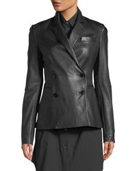 Theory - Double-breasted Bristol Leather Blazer - Lyst