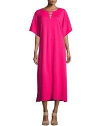 Joan Vass - Long Dolman Sleeve Dress W/ Lattice Detail - Lyst