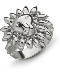 Monica Rich Kosann | Sterling Silver Lion Courage Ring With White Sapphires | Lyst