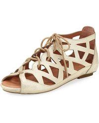 Gentle Souls - Brielle Lace-up Flat Cutout Comfort Sandals - Lyst