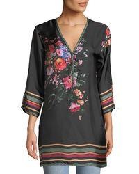 Johnny Was - Resort Rose-print Silk Blouse - Lyst